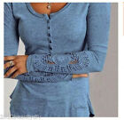 Women New Long Floral Sleeve Lace Crew Neck Slim Sweater Casual Blouse Top