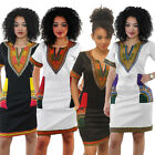 New Women Girls Traditional African Print Dashiki Party Shirt Dress Plus Size