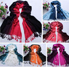 Women's Shawl Double color Tapered Scarf 100%Pashmina Cashmere Tassels Wrap Mult