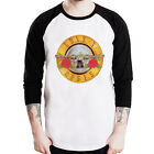 GUNS N ROSES circle BULLET metal band Baseball t-shirt 3/4 sleeve Raglan Tee