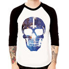 COSMIC SKULL#2 Galaxy space Inverted Cross Baseball t-shirt 3/4 sleeve Raglan