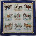 "Auth HERMES ""Les Robes"" by Philippe Ledoux Blue Silk Scarf 9212"