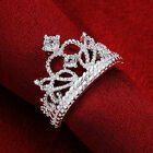 Unique Women 925 Silver Plated Princess Wedding Zircon Crown Ring Jewelry Gift