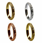 3mm 9ct Red Yellow White Gold Hand Engraved Court Comfort Wedding Rings UK HM