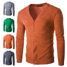 Mens V-neck Cardigan Sweater Top Long Sleeve Casual Sweater Knit Coat Jacket New