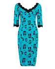 Voodoo Vixen Rockabilly Pin Up Retro Cool Kat Pencil Dress Cat Print Aqua