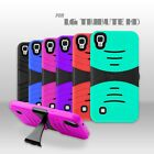For LG Tribute HD /LS676 Rugged Armor Hybrid Kickstand Cover Soft Hard Case