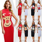 WOMENS NOVELTY CHRISTMAS PENGUIN RUDOLPH GLITTER PRINT XMAS SANTA BODYCON DRESS