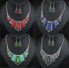 Fashion Charm Chain Crystal womens  Bib Statement Chunky  Necklace&Earrings Set