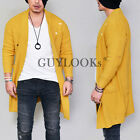 Mens Design Vintage Damaged Mustard Knit Sweater Long Cardigan Jacket By Guylook