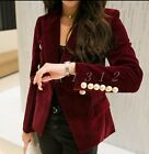 Ladies Double Breasted Short Lapel Blazer Formal Jackets Womens Suit Slim Coats