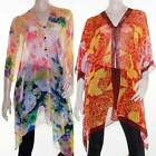 Kaftan Top Caftan Sz 8 - 28 Women Poncho V Neck Cover Up Sheer Floral Colourful