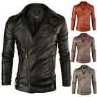 Mens Boys PU Leather Perfect Fit Motorcycle Jacket Casual Blazer Coat