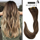 22inch OMBRE BALAYAGE CLIP IN REMY HUMAN HAIR EXTENSIONS BLACK BROWN BLONDE NEW