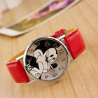 Cute Cartoon Mickey Mouse Leather Lady Wrist Watch Girl Women Teens Kids Watches