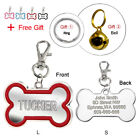 Custom Dog Tags Engraved Cat Pet ID Tags Bone Shape Personalized Name FREE Bell