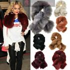 NEW WOMENS FAUX FUR LINED TWISTED TIPPET STOLE SCARF NECK SHOULDER WARMER LAYER