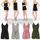 NEW SEXY LADIES DRAWSTRING COMFORTABLE CAMI STRAP V-NECK SUMMER PLAYSUIT UK 8-14