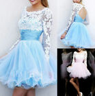 Stock Long-sleeve Short Prom Evening Party dress Homecoming Graduation Ball Gown