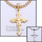 """18-36""""Mens Stainless Steel Gold Silver Greek Key Cross Pendant Necklace Chain#39"""