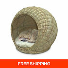 REAL Natural Rattan Cat Bed with Soft Cushion Pet Kitten Dog Puppy Mat Pad