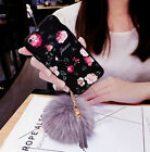 Plush Furry Rabbit Fur Ball Tassel Lovely Floral Pattern Case Cover For iPhone