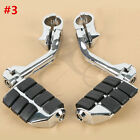 "Chrome Highway Foot Pegs Footrest 1 1/4"" Engine Guard Mounts Clamps For Harley"