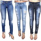 WOMENS RIPPED KNEE CUT JEANS FADED SLIM FIT LADIES SKINNY DENIM UK SIZES 6-16