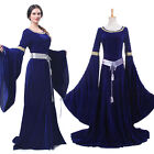 Retro Women Renaissance Medieval Dress Blue Court Gown Halloween Costume