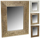 Wood Wall Mirror with Etched Leaf Design In The Timber 50cm x 40cm Wooden Frame