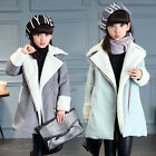 Children Kids Girls Fleece Coats Long Lamb Wool Jackets Parka Trench Outerwear