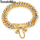 "7-11"" MEN WOMEN White/Yellow Gold Filled 11mm Hammered Cuban Curb Chain Bracelet"