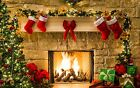 Christmas Tree Garland Scene Stockings/fireplace Canvas Picture -large 20x30""