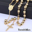 MENS Stainless Steel 4-10mm Gold Silver Bead Cross Pendant Rosary Chain Necklace