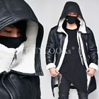 Premium Design Mens Full Shearling Black Lambskin Hooded Flight Jacket Guylook