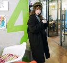 New Womens Double Breasted Wool Blend Loose Fit Mid-Long Parkas Thick Outwears @