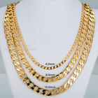 "18-36"" MENS WOMENS Yellow Gold Filled GF 4/8/10MM Curb Cuban Link Chain Necklace"