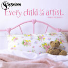 Every Child Is An Artist Pablo Picasso Quote Vinyl Wall Sticker Decal Kids Room