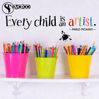 Every Child Is An Artist Pablo Picasso Quote Vinyl Wall Stic