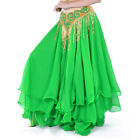 5X(S9 Vintage Style Belly Dance 3 Layers Skirt 12m Skirt For (beige))