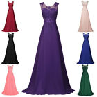 Sleeveless V Back Chiffon Formal Evening Prom Party Dress Bridesmaid Gown  6~20
