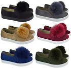 Kyпить WOMENS LADIES POM POM LOAFERS STYLE SUEDE TRAINERS PUMPS FLAT HEEL SHOES SIZE на еВаy.соm