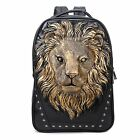 """3D Lion Head Animal Synthetic Leather Men's School Bag Backpack fit 14"""" Laptop"""