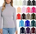 WOMEN'S POLO ROLL TURTLE NECK LONG SLEEVE RIBBED TOP JUMPER UK 8-14