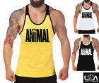 ANIMAL LOGO TANK TOP - RACERBACK SINGLET t back gym stringer muscle y golds