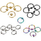 2/5/10Pc Ear Cartilage Nose Lip Eyebrow Captive Hoop Round Ring Piercing Jewelry