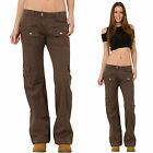 New Womens Ladies Brown Lightweight Wide Loose Leg Cargo Pants Combat Trousers