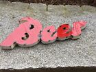 "BEER (27""x11""x1.5) Small Rustic Sign-Made with Reclaimed Metal-Red w/ White Trim"