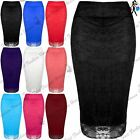 Womens Ladies Floral Lace Bodycon Tube High Waist Lined Pencil Midi Skirt