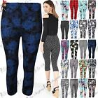Womens Ladies Printed Stretchy Elasticated Waist 3/4 Length Fitted Legging